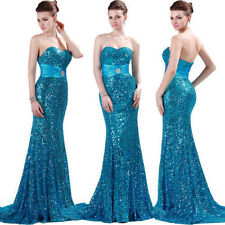 Elegant Shiny Sequins Bridesmaid Wedding Ball Gown Evening Prom Party Long Dress