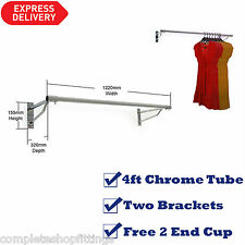 25mm 4ft GARMENT CLOTHES RAIL WALL MOUNTED HANGING RAIL DISPLAY TUBING SYSTEM