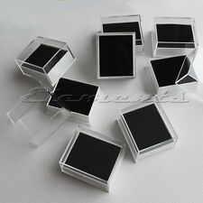 PLASTIC CLEAR TOP LID STUD EARRINGS DISPLAY BOXES WITH PLAIN BLACK PADS