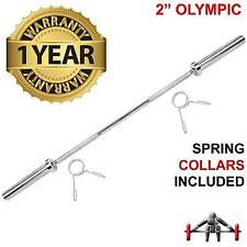 "Olympic Barbell Bars 4ft 5ft 6ft Weightlifting 2"" 5cm Weight Plates Gym Training"