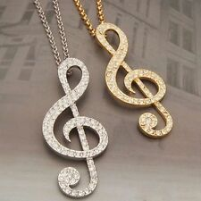 Occident Style Rhinestone Rhythm Pendants Music Note Long Chain Sweater Necklace