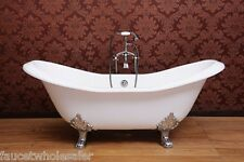 "72"" Deck Mount Double Slipper Clawfoot Tub, Cast Iron Tub w/ Faucet package"