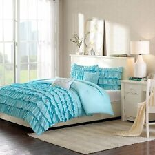 BEAUTIFUL MODERN RUFFLED BABY BLUE GIRLS TEEN 3PC COMFORTER SET FULL QUEEN TWIN