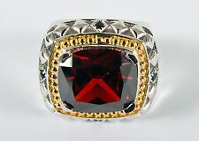 New MENS CLERGY RING, Sterling Silver, Ruby Red Crystal Stone (SUBS166)