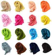 100% Cotton Solid Colour Fringed Casual Soft Scarves Shawls for Ladies Women Men