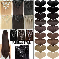 long straight full head 8 piece clip in hair extensions women gorgeous style