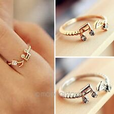 Fashion Lovely Cute Sweet Music Notes Thread Rhinestone Ring Rings Gold/Silver
