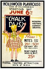 7457.Hollywood playhouse.Girl writing on chalkboard..POSTER.art wall decor
