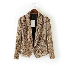 Fashion Snake Skin Pattern Ladies Women's Slim Suit Blazer Coat Jacket Tops