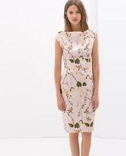 NWT_ ZARA Pink Printed dress with funnel collar_SIZE  XS,S,M