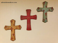 Rustic Wood Metal Wall Cross Hanging Distressed Antique Chic Wall Plaque Decor