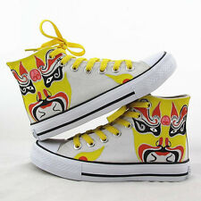 Chinese Culture Fans Shoes Beijing Opera Facial Masks Casual Sneakers Canvas