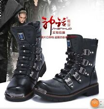 2014 Sreet PUNK Rock-MEN'S High Ankle TOP COOL # Fashion Army Motorcycle Boot+F9
