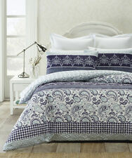 Piccadilly Blue Heat Pressed Quilted Quilt Doona Cover Set - DOUBLE QUEEN KING
