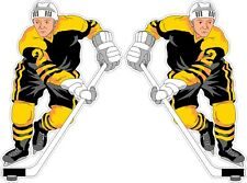 2 ICE HOCKEY PLAYER   right & left color vinyl decals stickers bumper (852)