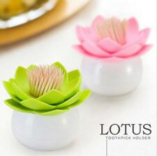 Chic Lotus Flower Cotton Bud Holder Toothpick Case Cotton Swab Box Vase Decor LJ