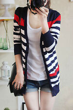Korean women Long section striped cardigan sweater pocket female casual jacket