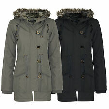 Womens Ladies Brave Soul Military Fur Parka Jacket Coat Quilted Hooded Size 8-24