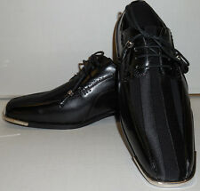 Expressions 4925 Mens Black Satin with Silvertip Modern Tuxedo Party Dress Shoes