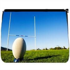 Rugby Ball on Tee in Front of Goal Black Large Messenger School Bag