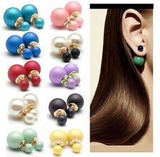 Fashion Candy Color Elegant Double Sides Simulated Pearl Crystal Stud Earrings