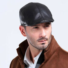 Men's Black GENUINE Sheepskin Leather Peaked Flat Cap Gatsby Newsboy Driving Hat