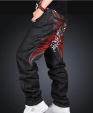 Men Street Dancing flame embroidery Design Casual Ecko Jeans skateboard Pants