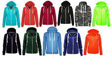 Womens Plain Zip Hoodie Sweatshirt Winter Casual top Ladies Jacket Coat Size8-16