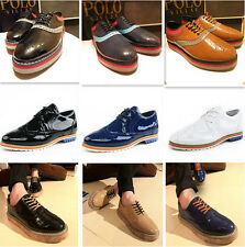 Hot New Men's PU Leather Lace Up High Platform Casual Dress Oxford Shoes Sneaker