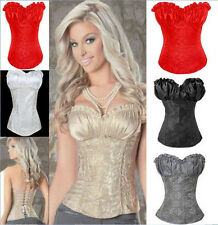 UK GIFT New Floral Lace Up Lady Sexy Boned Corset Dress Basques PLUS Size S-6XL