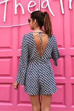 NEW ZARA 2014 BLUE WHITE PRINTED ROMPER JUMPSUIT OVERALL W/ OPEN BACK ALL SIZES