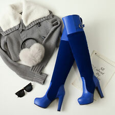 Sexy Women's block buckle round toe plate form winter thicken Over knee boots