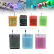 ZH2A LED Flashing Light Dual USB Port AC Wall Charger Adapter for Samsung/iPhone