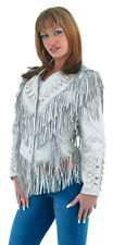 Ladies Off White Leather Jacket With Beads, Studs, Bone & Fringe With Snaps 267