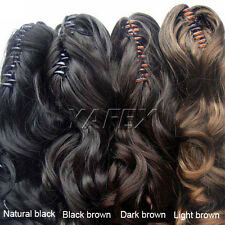 Women Natural Human Hair Long Wavy curly Ponytail Pony Wig Hair Extension Thick