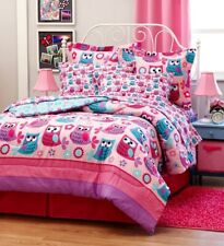 Pink Teal Nature HOOT OWLS Girls 6pc Twin 8pc Full size Comforter Bed Set Flower
