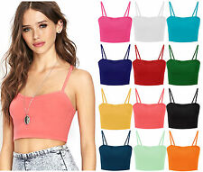 New Womens Vest Bralet Crop Top Ladies Sleeveless Plain Strappy Top Size 8-14
