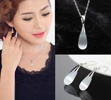 fashion 925Sterling Silver lady necklace pendant earrings cat's eye stone new e