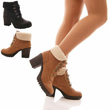 LADIES WOMENS FUR COLLAR BOOTS MID BLOCK HEEL LACE UP CHUNKY WINTER SHOES SIZE