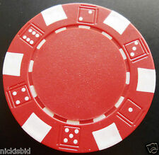 25 POKER CHIPS 11.5g DICE MOTIF CHOICE OF RED, GREEN, BLUE, BLACK OR WHITE