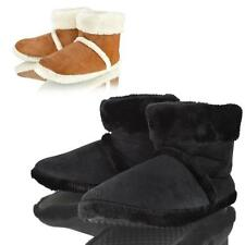MENS DUNLOP BLACK TAN WARM COSY WINTER FAUX FUR LINED ANKLE BOOT SLIPPERS SIZE