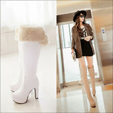 New Womens POM-POM Cuffed sexy block pump high heels Over the Knee Boots shoes