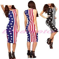 Women's American Flag Stars And Stripes Long Vest Bodycon Dress Tops Fashion New