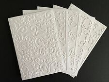 5 Stunning Embossed White Cards - Blank For Your Message - Thank You, Birthday