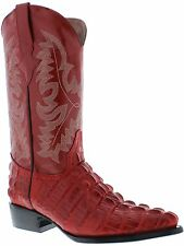 mens red leather crocodile alligator tail western cowboy boots exotic rodeo new