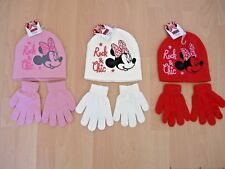 GIRLS MINNIE MOUSE HAT AND GLOVES SET DISNEY PINK CREAM RED AGES 2-4 4-8 YEARS