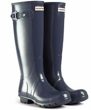 HUNTER ORIGINAL TALL GLOSS NAVY RAIN BOOTS WOMEN