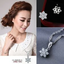 925 sterling silver lady lovely snowflower earrings necklace pendant fashion e