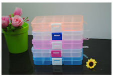 Plastic 10 Slots Rectangle Display Jewelry Storage Box Case Organizer Beads