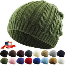 Lady Women Knit Winter Warm Crochet Hat Braided Baggy Beret Cuffless Beanie Cap